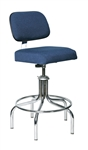 "Bevco 2600-5E Evanston Upholstered ESD Chair w/ Welded Chrome Footring Metal Glides, Height Adjusts 24"" - 29"""