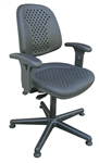 Bevco 7001V Vented Polyurethane Chair with Articulating Seat and Back and Plastic Base