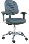 Bevco 7051VS Vented Polyurethane Chair - Polished Aluminum Base and Articulating Seat and Back