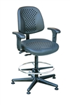 "Bevco 7301V Vented Polyurethane Chair with Articulating Seat and Back, Plastic Base and 20"" Chrome Adjustable Footring"