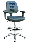 Bevco 7351VS Vented Polyurethane Chair - Polished Aluminum Base and Articulating Seat and Back with Adjustable Chrome Footring