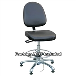 "Bevco 9050LE1-BK - Integra-ECR 9000 Series Class 10 ESD Cleanroom Chair - Static Control Vinyl - 15.5""-21"" - ESD Mushroom Glides - Black"