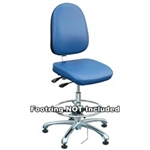 "Bevco 9050LE1-BL - Integra-ECR 9000 Series Class 10 ESD Cleanroom Chair - Static Control Vinyl - 15.5""-21"" - ESD Mushroom Glides - Blue"