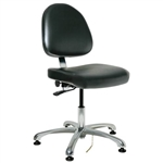"Bevco 9050ME2-BK - Integra-ECR 9000 Series Class 100 ESD Cleanroom Chair - Static Control Vinyl - 15.5""-21"" - ESD Mushroom Glides - Black"
