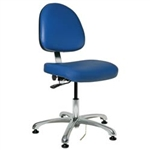 "Bevco 9050ME2-BL - Integra-ECR 9000 Series Class 100 ESD Cleanroom Chair - Static Control Vinyl - 15.5""-21"" - ESD Mushroom Glides - Blue"