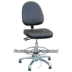 "Bevco 9051LE1-BK - Integra-ECR 9000 Series Class 10 ESD Cleanroom Chair - Static Control Vinyl - 15.5""-21"" - ESD Mushroom Glides - Black"