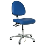"Bevco 9051ME2-BL - Integra-ECR 9000 Series Class 100 ESD Cleanroom Chair - Static Control Vinyl - 15.5""-21"" - ESD Mushroom Glides - Blue"