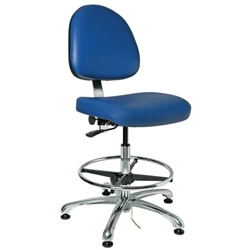 "Bevco 9350ME3-BL - Integra-ECR 9000 Series Class 1000 ESD Cleanroom Chair - Static Control Vinyl - 19""-26.5"" - ESD Mushroom Glides - Blue"