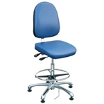 "Bevco 9351LE1-BL - Integra-ECR 9000 Series Class 10 ESD Cleanroom Chair - Static Control Vinyl - 19""-26.5"" - ESD Mushroom Glides - Blue"