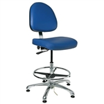 "Bevco 9550ME-BL- Integra-ECR 9000 Series Class 10 ESD Cleanroom Chair - Static Control Vinyl Medium Back - 21.5""-3.5"" - ESD Mushroom Glides - Blue"