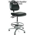 "Bevco 9551LE2-BK - Integra-ECR 9000 Series Class 10 ESD Cleanroom Chair - Static Control Vinyl Large Back - 21.5""-3.5"" - ESD Mushroom Glides - Black"