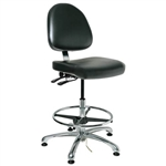"Bevco 9551ME1-BK - Integra-ECR 9000 Series Class 10 ESD Cleanroom Chair - Static Control Vinyl Medium Back- 21.5""-31.5"" - ESD Mushroom Glides - Black"