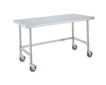 "Metro Industries MWT307FS Stainless Steel Worktable, Mobile with Solid Bottom Shelf 30"" x 72"" x 34""H"