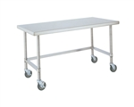 "Metro Industries MWT307US Stainless Steel Worktable, Mobile with 3-Sided Frame 30"" x 72"" x 34""H"