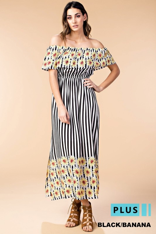 Black Sunflower Striped Maxi Dress in PLUS & Regular