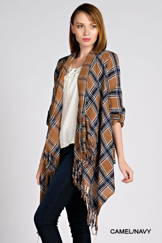 - Plaid Cardigan In Camel/Navy Or Navy/Red
