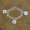 Button 3-Snap Matte Silver Bracelet