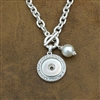 Matte Silver Pearl Snap Button Toggle Necklace
