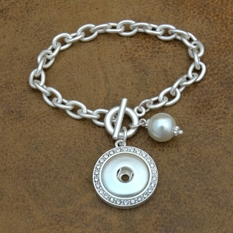 Matte Silver Pearl Snap Button Toggle Bracelet