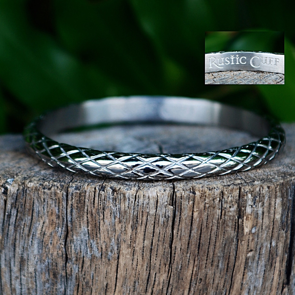 Rustic Cuff Quilted Bangle Bracelet