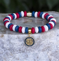 Rustic Cuff 4th of July-Alex Red, White, and Blue in Gold