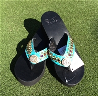 b409e7478 Custom Turquoise Hand-Made Leather Flip Flop with FREE Snap Button
