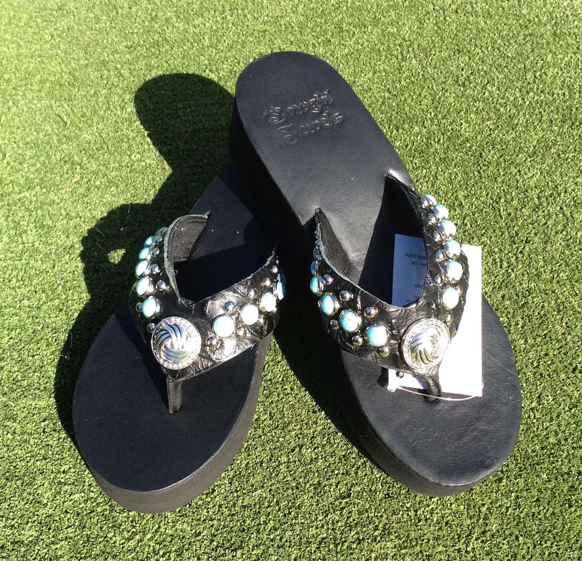 e24f9120a Custom Black Hand-Made Leather Flip Flop with FREE Snap Button