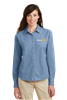 Port & Company Womens Long Sleeve Denim Shirt