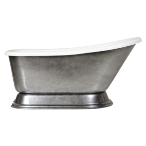 "LUXWIDE 'Agostino-ACH' 59"" White CoreAcryl Acrylic Single Slipper Pedestal Tub with an Aged Chrome Exterior plus Drain"