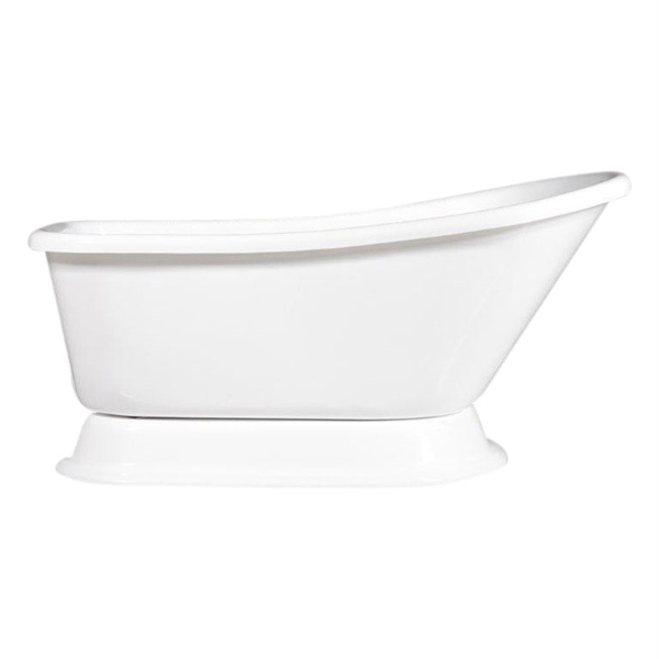 "Luxury Wide 'Agostino-59' 59"" White Acryform Acrylic Single Slipper Pedestal Tub plus Drain"