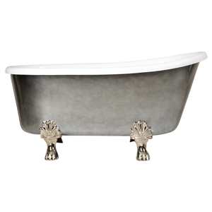 "LUXWIDE 'Athena-ACHCL58' 58"" White CoreAcryl Acrylic Swedish Slipper Clawfoot Tub with an Aged Chrome Exterior plus Drain"