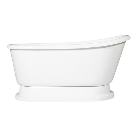 "LUXWIDE 'Carafa-58' 58"" White CoreAcryl Acrylic Swedish Slipper Pedestal Tub plus Drain"