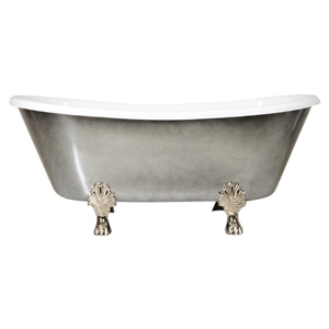 "Luxury Wide 'Carlito-ACH67' 67"" WHITE Acryform Acrylic French Bateau Clawfoot Tub with an Aged Chrome Exterior plus Drain"