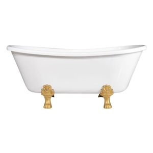 "LUXWIDE Wide 'Federigo-59' 59"" White CoreAcryl Acrylic French Bateau Clawfoot Tub plus Drain"