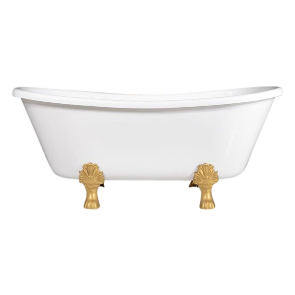 "Luxury Wide 'Federigo-67' 67"" WHITE Acryform Acrylic French Bateau Clawfoot Tub plus Drain"