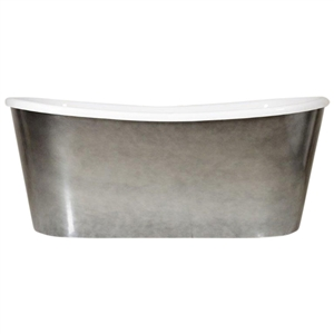 "LUXWIDE 'Ginevra-ACHSK73' 73"" WHITE CoreAcryl Acrylic French Bateau Skirted Tub with an Aged Chrome Exterior plus Drain"