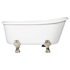 "LUXWIDE 'Gritti-54' 54"" WHITE CoreAcryl Acrylic Swedish Slipper Clawfoot Tub plus Drain"