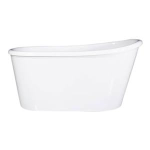 "LUXWIDE 'Hermes-58' 58"" White CoreAcryl Acrylic Swedish Slipper Skirted Tub plus Drain"