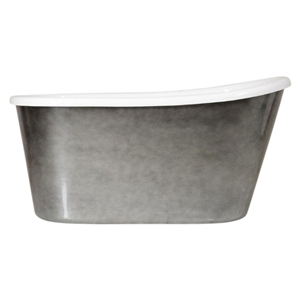 "LUXWIDE 'Hermes-58ACHSK' 58"" White CoreAcryl Acrylic Swedish Slipper Skirted Tub with an Aged Chrome Exterior plus Drain"