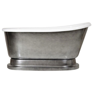 "LUXWIDE 'Iris' 58-ACHPD"" White CoreAcryl Acrylic Swedish Slipper Pedestal Tub with an Aged Chrome Exterior plus Drain"