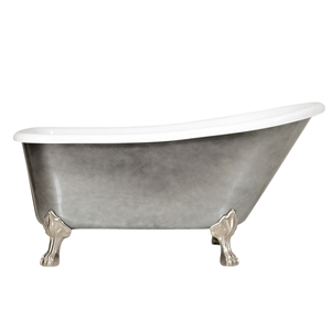 "LUXWIDE 'LUCHINO-ACH' 59"" White CoreAcryl Acrylic Single Slipper Clawfoot Tub with an Aged Chrome Exterior plus Drain"