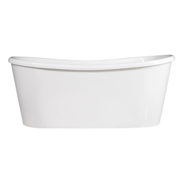 "LUXWIDE 'Verona-WHSK67' 67"" WHITE CoreAcryl Acrylic French Bateau Skirted Tub with a White Exterior plus Drain"