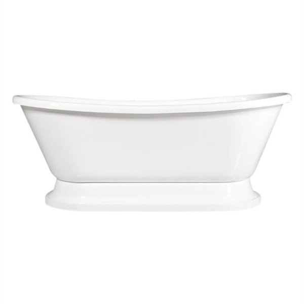 "Luxury Wide 'Fiamatta-67' 67"" WHITE Acryform Acrylic French Bateau Pedestal Tub plus Drain"