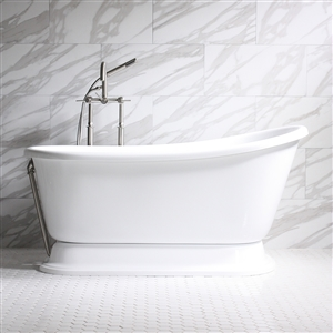 "'CARAFA62' 62"" WHITE CoreAcryl Acrylic Swedish Slipper Pedestal Tub Package"