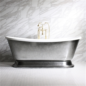 "Regular Wide 'CHRISTOFORO59' 59"" CoreAcryl Acrylic French Bateau Pedestal Tub with Aged Chrome Exterior plus Faucet Package"