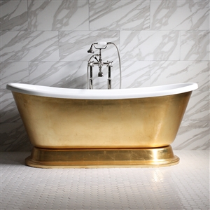 "'CLEOPATRA59 59"" CoreAcryl WHITE Acrylic French Bateau Pedestal Tub with Umber Wash Aged Gold Leaf Exterior plus Faucet Package"