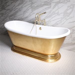 "'CLEOPATRA73' 73"" CoreAcryl WHITE Acrylic French Bateau Pedestal Tub with Umber Wash Aged Gold Leaf Exterior plus Faucet Package"
