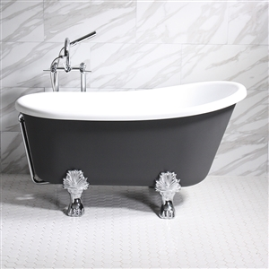 "'COSIMO54' 54"" WHITE CoreAcryl Acrylic Swedish Slipper Clawfoot Tub Package with Iron Effect Exterior"