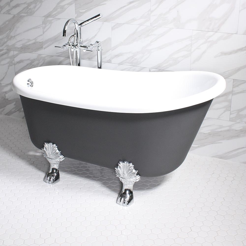 Cosimo54 54 White Coreacryl Acrylic Swedish Slipper Clawfoot Tub Package