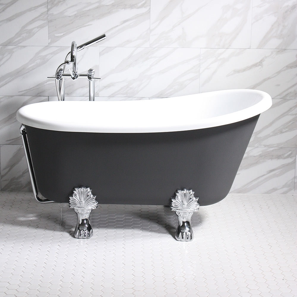 Cosimo58 58 White Coreacryl Acrylic Swedish Slipper Clawfoot Tub Package With Iron Effect Exterior